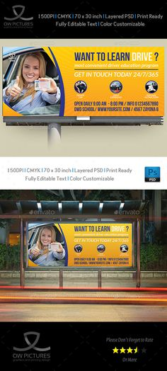 Driving School Billboard Template — Photoshop PSD #school #driving learning center • Available here → https://graphicriver.net/item/driving-school-billboard-template/15849758?ref=pxcr