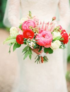 Pink,red & white bridal bouquet