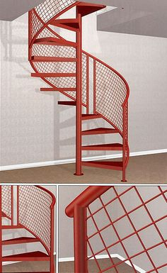 20 Best Outdoor Spiral Staircase Modern and Contemporary : Katydidandkid supplies outdoor spiral stairs that are the ideal balance of style and durability with customized coatings and also design options. Spiral Staircase Outdoor, Staircase Metal, Spiral Stairs Design, Deck Stair Railing, Patio Stairs, Staircase Wall Decor, Staircase Makeover, House Stairs, Staircase Design