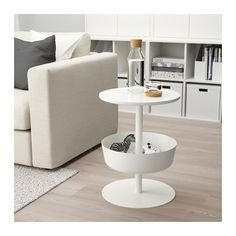 LIERSKOGEN Nightstand IKEA You can decide how high the table should be, since the leg consists of 3 pipe sections in different lengths. Ikea White Bedside Table, Kids Bedside Table, White Nightstand, End Tables With Drawers, Small Tables, Furniture Styles, Home Furniture, Ikea Portugal, Dark Living Rooms
