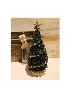 Dolls house miniature decorated Christmas tree by Artistique on Etsy