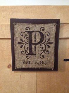 Customized Burlap Monogram Initial with Date Wood Sign | SignsofElegance - Housewares on ArtFire