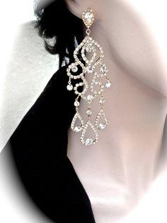 Gold chandelier earrings  4 1/2 Long  Crystal by QueenMeJewelryLLC