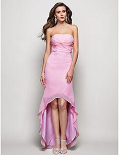 strapless vaina / columna vestido de noche / baile asimétrico de gasa