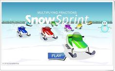 Snow sprint de arcademics.com (Multiplicación de fracciones)
