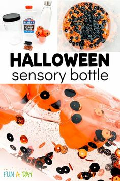 Make an easy DIY Halloween-themed sensory bottle this October! It's super easy, using ingredients you probably already have on hand - glue, Halloween scatter and sequins, water, and a jar! Sensory bottles are a fun way to explore new concepts and can also help with behavior management and emotional regulation! Halloween Books For Kids, Halloween Science, Halloween Activities For Kids, Diy Halloween, Early Learning Activities, Stem Activities, Preschool Lesson Plans, Preschool Themes, Calm Down Bottle
