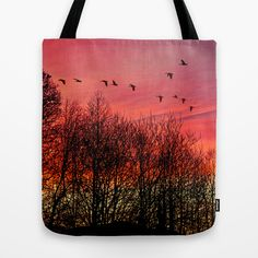 Farewell day Tote Bag by Pirmin Nohr - $22.00  A real dawn in winter, I only added the birds, another photo of my own.   Nature, trees, sky, clouds, red, silhouettes
