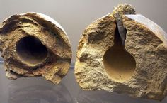 Two grenade out of a depot of several hundred clay grenades dated to 17th century from the castles moat of Ingolstadt, Bavaria, Germany.