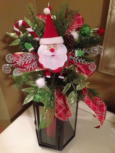 Christmas Santa Holiday Lantern Swag on Etsy, $30.00