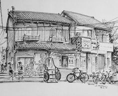 Artist - Itsuo Kiritani   Title - Tsukuda 2 Chome(佃2丁目)   Dimensions - (21.8cm x 26.8cm)Year - 1995  Media - Pen and Ink on Paper   Exhibition - ANA InterContinental Tokyo  Nov. 9, 2015 - Feb. 9, 2016     Inquiry