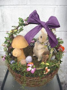 Vintage Wire Spring Basket Primitive Easter Eggs Country Sisal Rabbit Bunny New   eBay