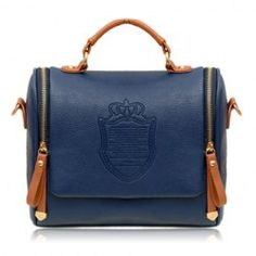 Wholesale British Style Women's Tote Bag With Rivets and Embossing Design (DEEP BLUE), Tote Bags - Rosewholesale.com
