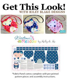 Get This Look!: Wildflower Meadow fabric panel comes with pre-printed pattern pieces and instructions to make this adorable Hedgehog Purse! #melly&me #rileyblakedesigns #wildflowermeadow #panel #cheatercloth #hedgehog #purse #pattern