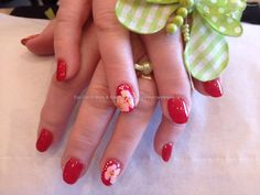 Acrylic nails with one stroke flower as nail art