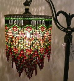 Turn regular stripped lampshade frame upside down add strings of victorian triple beaded shade only aloadofball Gallery