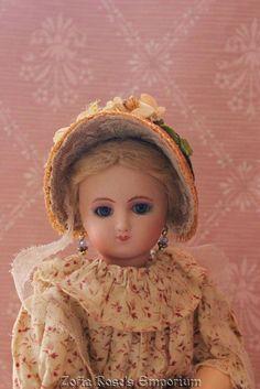 FRENCH FASHION DOLL Bonnet ~ Pretty Net Lace Trims ~by Zofia Rose's Emporium