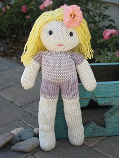 Free Knitting Pattern for Deborah Doll - #ad 14 inches tall. Free with registration at Annie's. Crochet version also available