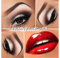 White & black/dark brown with bold red lips