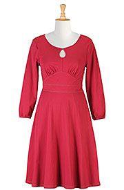 I <3 this Keyhole cotton knit A-line dress from eShakti