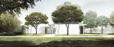 Johnston Marklee's Design for Menil Drawing Institute To Harness Gradients of Light,West Façade as seen from the Energy House. Image Courtesy of Johnston Marklee / The Menil Collection