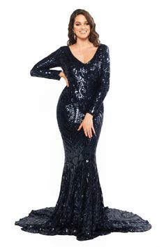 A&N Curve Julieta - Navy Sequin Gown with Long Sleeves & Mermaid Train Curve Prom Dresses, Formal Dresses, Sequin Gown, Sequin Fabric, Sexy Curves, Plus Size Dresses, Evening Dresses, Sequins, Gowns