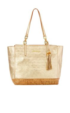 Lilly Leather Tote Bag - Lilly Pulitzer Gold Metallic Upscale Accessories