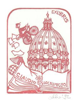 Maria Elisa Leboroni / bookplate for Claudio Scocnamiglio, depicts open book in front of person riding bicycle up side of cathedral dome (St. Peter's?)