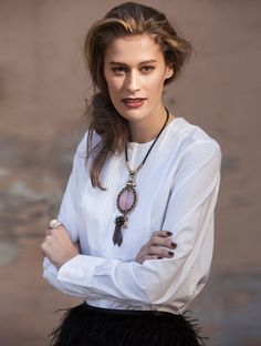 White dress shirt, Boomerang / Necklace, H&M / Feather mini skirt, Tiger of Sweden