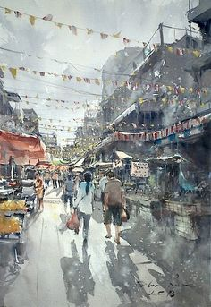 Direk Kingnok Watercolor artist - Sunny day, Bangkok. 36 x 50 cm.