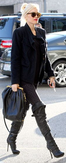 Love the boots and leopard print leggings!