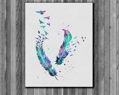 Feather and Birds illustration watercolor, Art Print, instant download,  Watercolor Print, poster