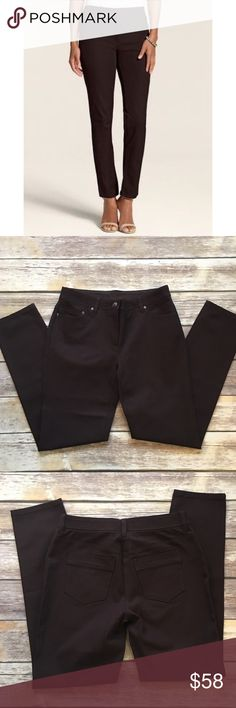 """Chico's So Slimming Ponte Stretch Pants These pants are absolutely gorgeous. They are very Slimming and made in ponte style pants. They are a chico's size 0 short which is around 4 or a small. Measurements laying flat waist 15""""/ inseam 28"""". Made of cotton/ rayon/ spandex blend. NO TRADES NO LOWBALL OFFERS. Worn once or twice. In excellent condition Chico's Pants"""