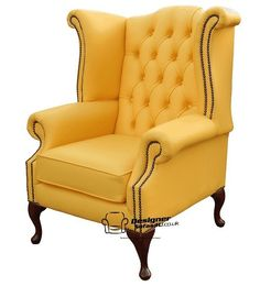 queen anne high back yellow wing chair
