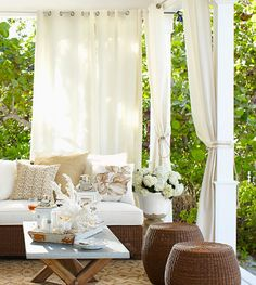 Gorgeous idea...may be getting some curtains for our tiny balcony patio!