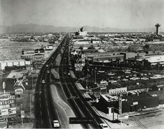 """A bird's-eye view of the 1962 version of the Las Vegas Strip.  The Sands Hotel can be seen in the foreground, along with the Landmark tower in the distance.  Part of the UNLV Libraries """"Dreaming the Skyline"""" digital collection.  #UNLV"""