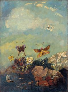 "Butterflies  Odilon Redon    c. 1910. Oil on canvas, 29 1/8 x 21 5/8"" (73.9 x 54.9 cm)"