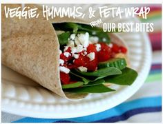 Veggie, hummus & feta wrap - a healthy lunch that will actually keep you full until dinner.