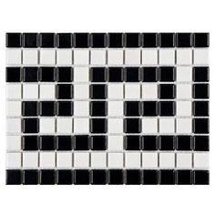 Metro Greek Key Matte White and Black Border 8 in. x 5 mm Porcelain Mosaic Tile FXLMMGKB The Merola Tile Metro Greek Key Matte White and Black Border 8 in. x 5 mm Porcelain Mosaic Tile is frost resistant for indoor Mosaic Glass, Mosaic Tiles, Wall Tiles, Backsplash Tile, Tile Flooring, Best Floor Tiles, Border Tiles, Wall Trim, Greek Key