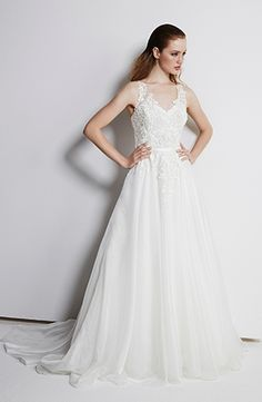 V-Neck A-Line Wedding Dress  with Natural Waist in Lace. Bridal Gown Style Number:33499666