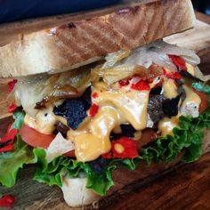 Spicy Tortilla Melt: #allOhio beef, sautéed Onions, lettuce, tomato, Tortilla Chips, and Pepperjack Cheese Sauce. #theRAIL #Canton #330 #recipe