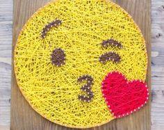 Modern Emoji String Art Wall Decor yellow heart eye by GoodLights