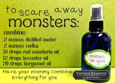 Monsters-be-gone spray - the perfect way to calm little ones when things go bump in the night.