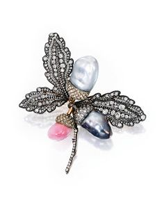 "Pearl and Diamond ""acorn"" brooch"