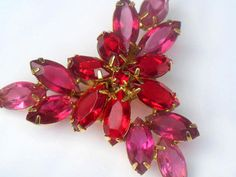 Juliana D and E Red Pink Faceted Rhinestone Brooch Delizza and Elster High Fashion by JewelryQuestDesign, $46.99