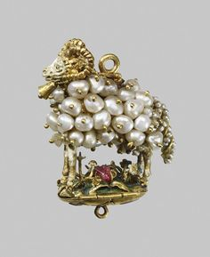 Pendant with standing ram, Spain or Spanish colonies, circa 1600, in gold, enamel, spinel and pearls from the Waddesdon Bequest, British Museum, London © The Trustees of the British Museum. All rights reserved.