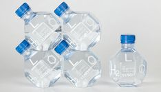 LH2O is an experimental packaging design and space filling research project by Pedrita with Agua de Luso. The unique form and function of the design emphasizes easy storage, transportation, display, handling and consumption.