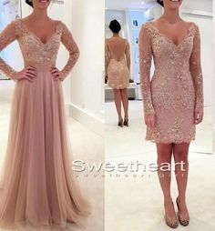 A-line V Neck Lace Tulle 2 pieces Long Prom Dresses, Formal Dresses