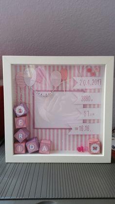 34 Ideas For Baby Geschenk Geburt Rahmen 34 Ideas For Baby Gift Birth Frame Box Frame Art, Box Frames, Stampin Up, Baby Crafts, Diy And Crafts, Decor Crafts, Dibujos Baby Shower, Birth Gift, Baby Birth