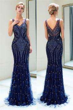 V-Back Beaded Sheath Long Navy Blue Prom Evening Dress Gala Dresses, Wedding Dresses, Navy Blue Evening Gown, Mermaid Dresses, Formal Gowns, Elegant Dresses, Dress Ideas, Wedding Stuff, Outfits