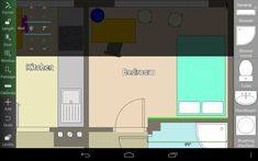 Incredible Ilustration Of Kitchen And Bedroom Using Room Planner App With  Yellow Colored Table In